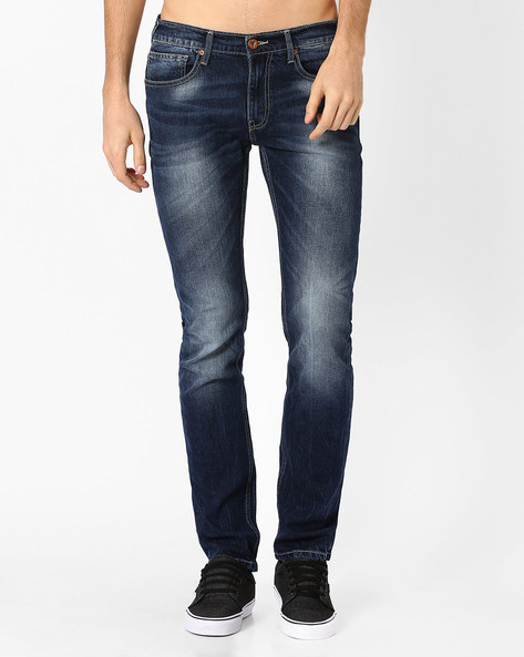 Low-Rise Slim Fit Jeans By Pepe Jeans ( Blue )