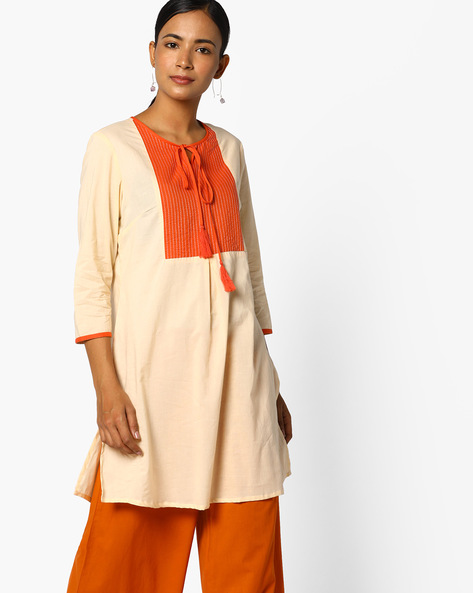 Kurti With Tassel Tie-Up By AJIO ( Ivory )