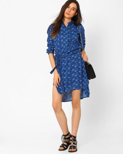 Printed Dress With High-Low Hem By CHM ( Dkaqua )