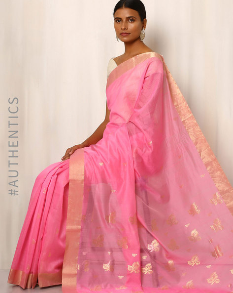 Handwoven Pure Silk Cotton Chanderi Saree By Indie Picks ( Lightpink )