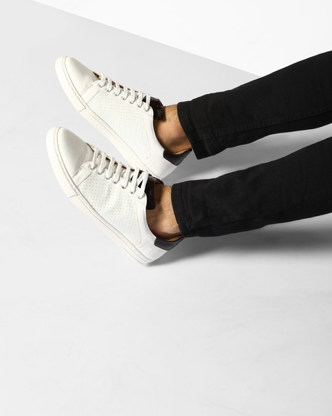 Lace-Up Sneakers With Perforations By ESCARO ( White )