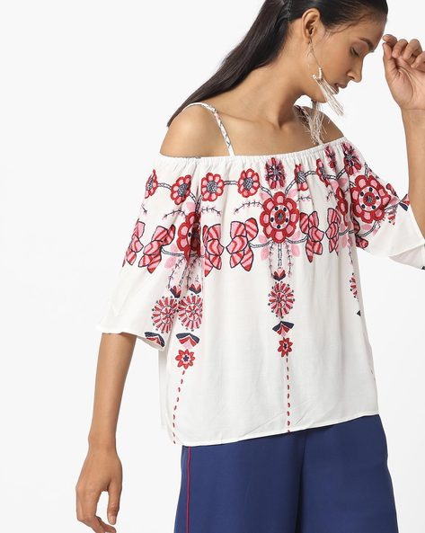 Printed Off-Shoulder Strappy Top By Ginger By Lifestyle ( White )