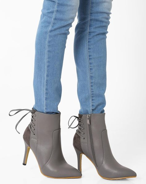 Heeled Boots With Tie-Ups By MFT Couture ( Grey )