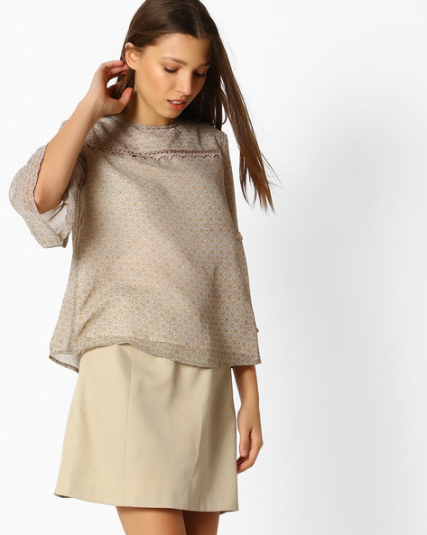 Printed Boxy Top With Bell Sleeves By Femella ( Beige )