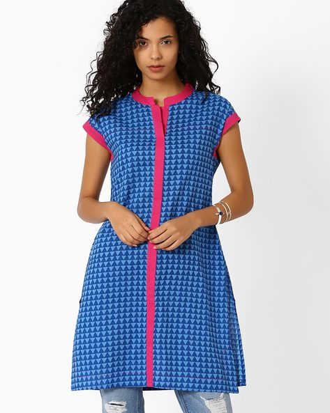 Printed Kurta With Contrast Taping By AJIO ( Blue )