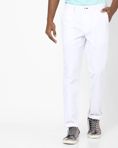 Flat-Front Chinos By NETPLAY ( White )