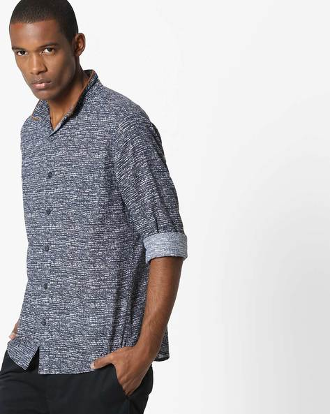 Printed Cotton Shirt By UNITED COLORS OF BENETTON ( Blue )