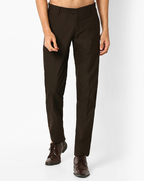 Slim Fit Flat-Front Trousers By VIMAL APPARELS ( Brown )