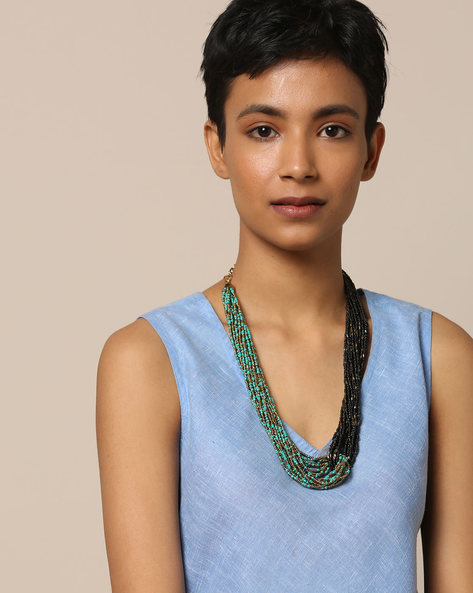 Multi-Layered Beaded Brass Necklace By Project Eve ( Multi )