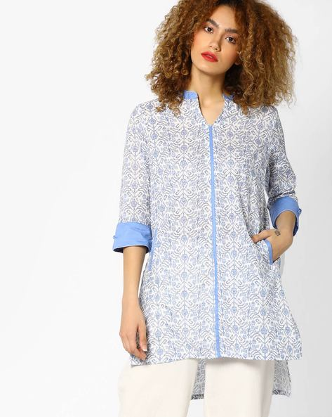 Printed Tunic With High-Low Hemline By AJIO ( Blue )