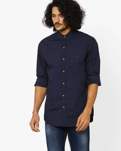Tamas Sport Slim Fit Shirt By Wills Lifestyle ( Blue )