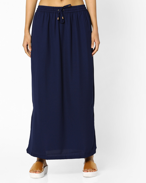 Maxi Skirt With Elasticated Waistband By Project Eve WW Casual ( Blue )