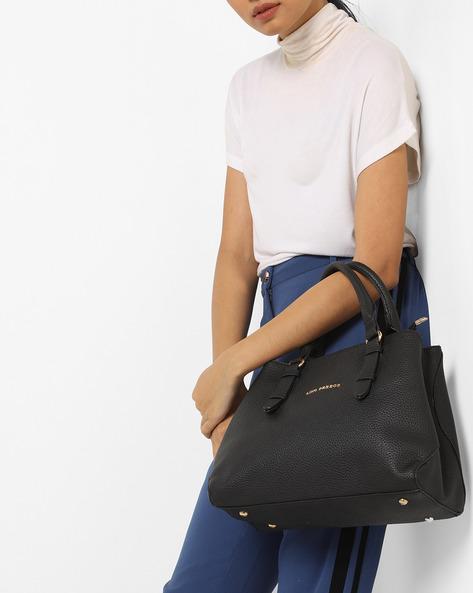 Handbag With Detachable Strap By Lino Perros ( Black )