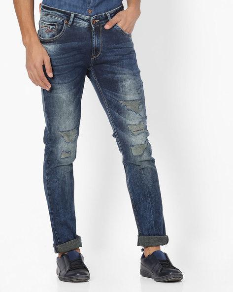 Distressed Skinny Jeans By SPYKAR ( Blue )