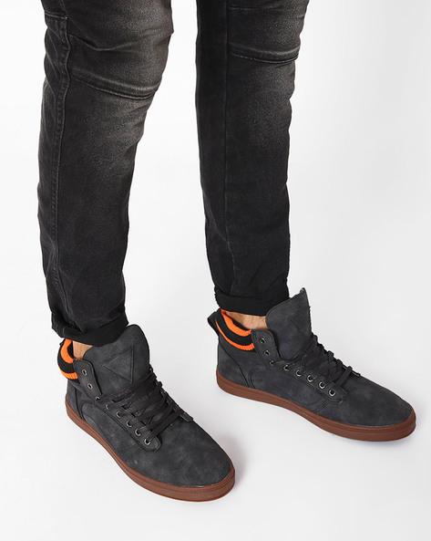Mid-Top N9-Treated Sneakers By AJIO ( Black )