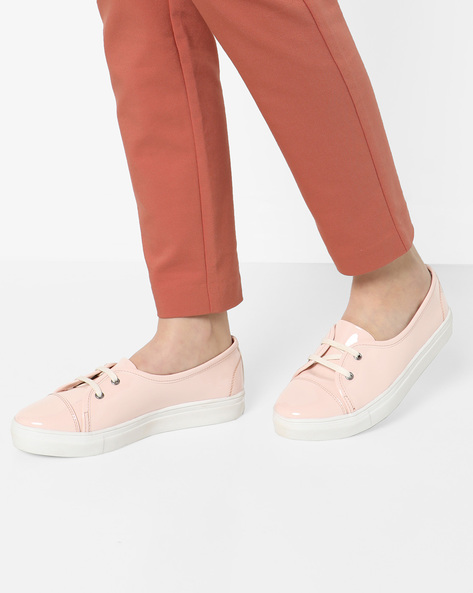 Toe-Cap Lace-Up Casual Shoes By AJIO ( Pink )