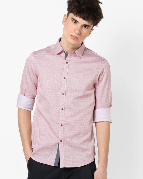 Polka-Dot Print Shirt By AJIO ( Rust )