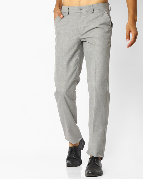 Mid-Rise Flat-Front Trousers By NETWORK ( Ltgrey )
