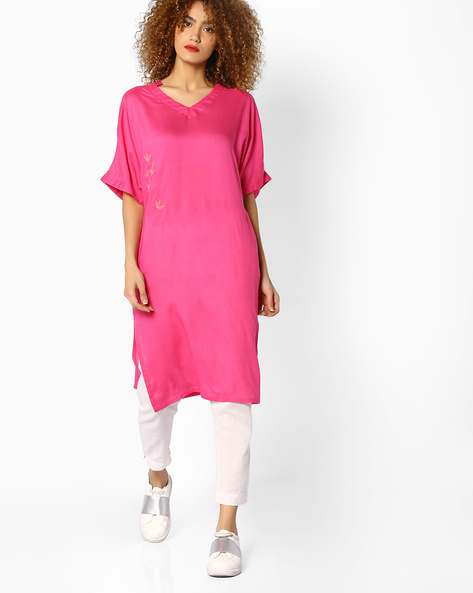 Straight Kurta With Mandarin Collar By AJIO ( Pink )