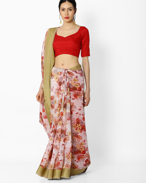 Floral Print Saree By Amori ( Red )