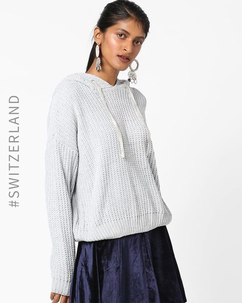 Hooded Pullover With Drop Shoulder Sleeves By TALLY WEiJL ( Grey )