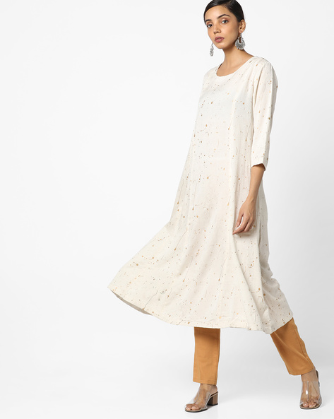 Splatter Print A-Line Kurta By Project Eve IW Casual ( Natural )
