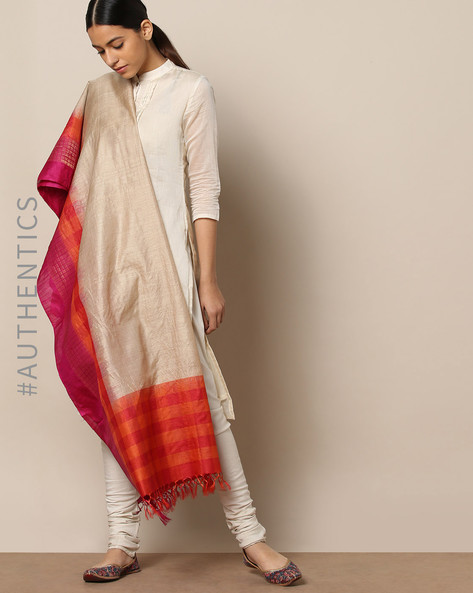 Handloom Pure Silk Tussar Muga Dupatta By Indie Picks ( Multi ) - 460176776001