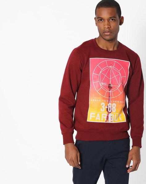 Graphic Print Crew-Neck Sweatshirt By Fort Collins ( Maroon )