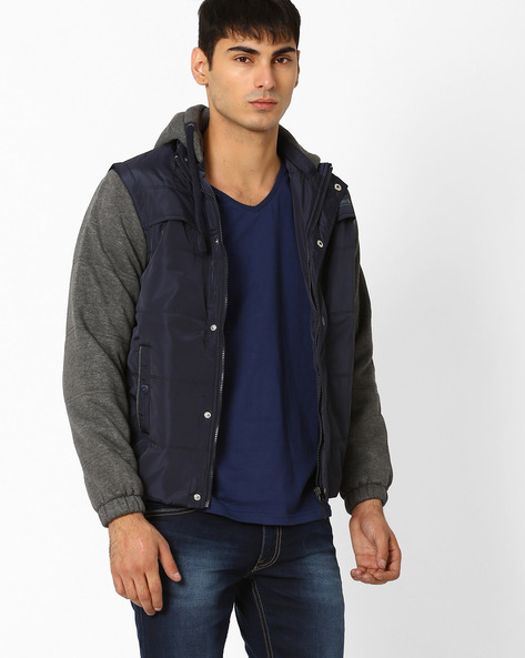 Regular Fit Jacket With Contrast Sleeves By DUKE ( Navy )
