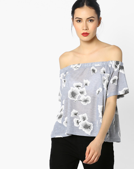 Off-Shoulder Top With Floral Applique By Ginger By Lifestyle ( Greymelange )