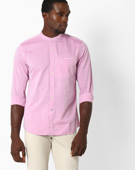 Regular Fit Shirt With Mandarin Collar By NETPLAY ( Pink )