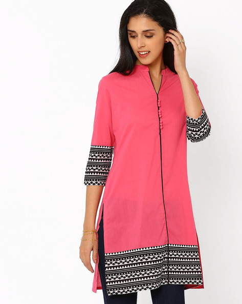 Printed Kurta With Mandarin Collar By AJIO ( Pink )