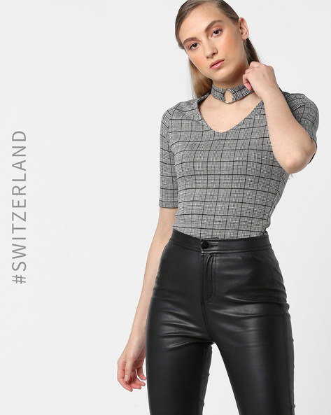 Checked T-shirt With Choker By TALLY WEiJL ( Black )