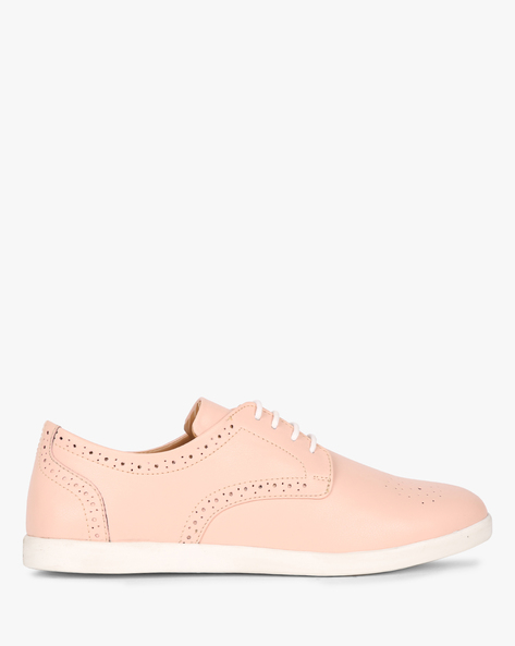Lace-Up Shoes With Laser Cut-Outs By AJIO ( Nude )