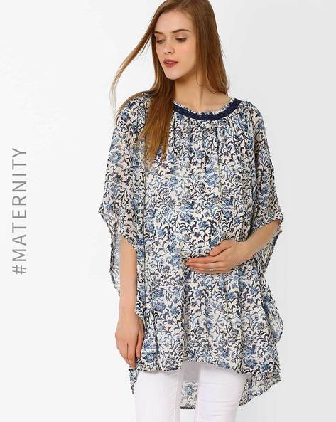 Printed Maternity Lace Tunic By Oxolloxo ( Blue )