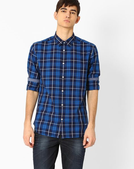 Slim Fit Checked Shirt By Jack & Jones ( Blue )