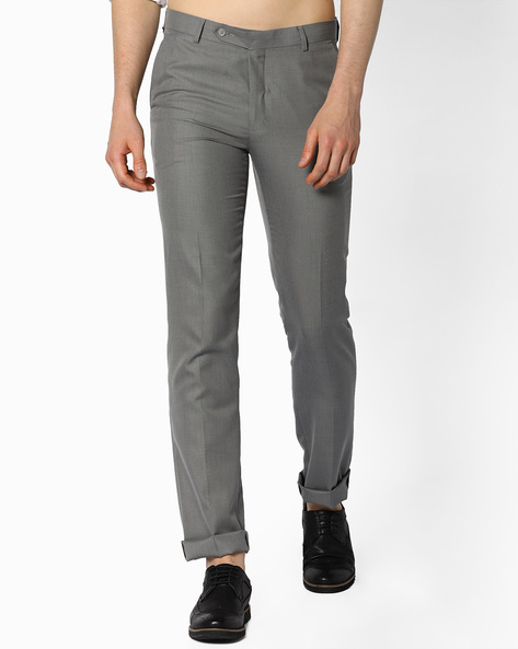 Slim Fit Formal Trousers By JOHN PLAYERS ( Gray )