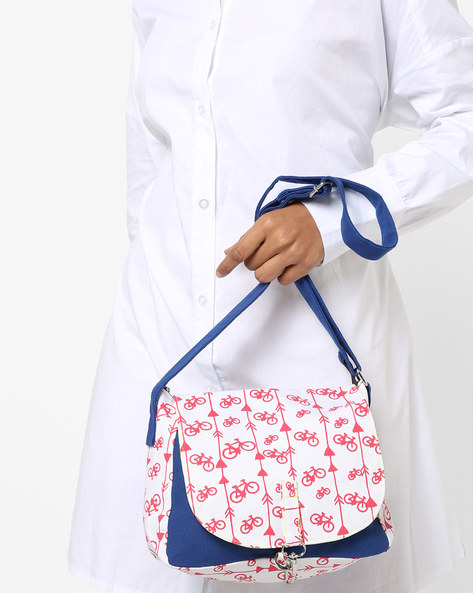 Printed Colourblock Sling Bag By Kanvas Katha ( Indigo )
