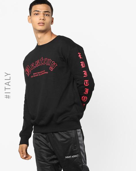 Typographic Print Crew-Neck Sweatshirt By ALCOTT ( Black )