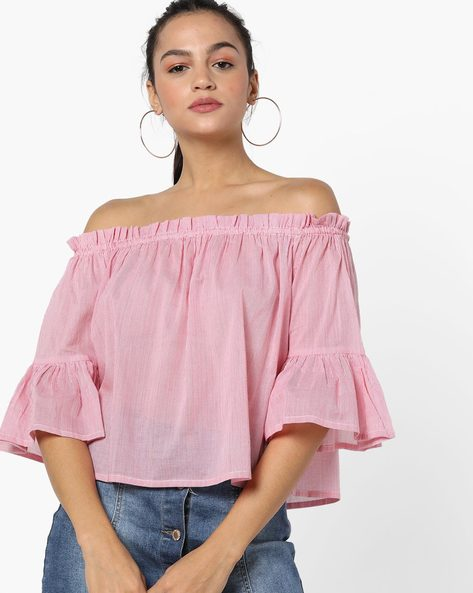 Off-Shoulder Striped Top With Ruffled Sleeves By Miway ( Pink )