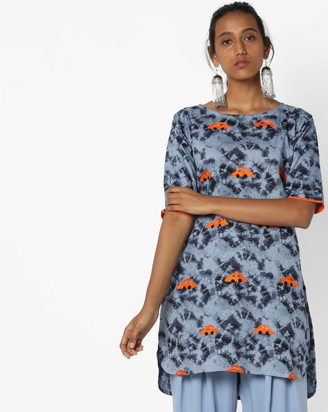 Printed High-Low Tunic With Embroidery By Breya ( Blue )