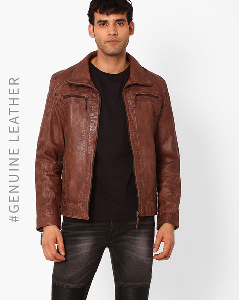 Genuine Leather Biker Jacket By TEAKWOOD LEATHERS ( Brown ) - 460046967003