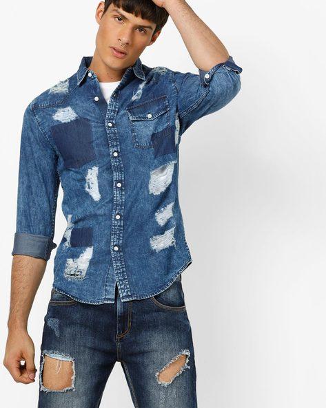 Slim Fit Panelled Denim Shirt By Blue Saint ( Indigo )