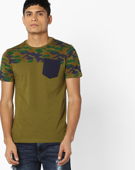 Crew-Neck T-shirt With Patch Pocket By AJIO ( Olive )
