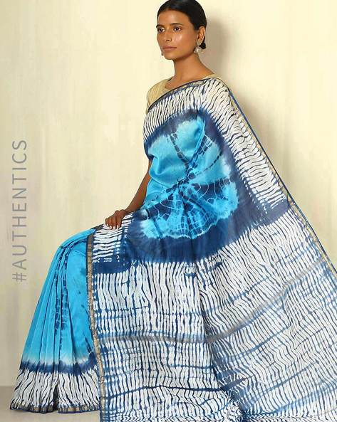 Shibori Tie-Dye Chanderi Saree With Zari Border By Indie Picks ( Multi ) - 460053715001