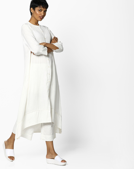 Straight Kurta With Asymmetrical Hem By Project Eve IW Casual ( Offwhite )