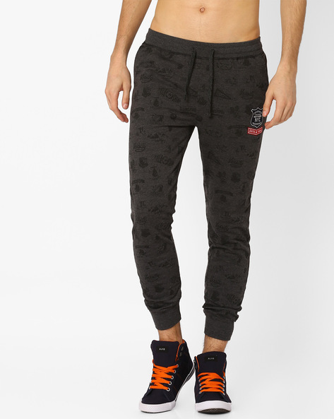 Printed Track Pants With Ribbed Cuffs By TEAM SPIRIT ( Charcoal )