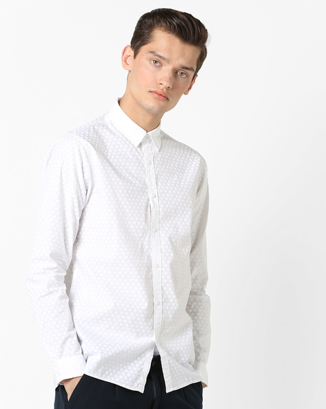 Slim Fit Self-Design Shirt By Pepe Jeans ( White )