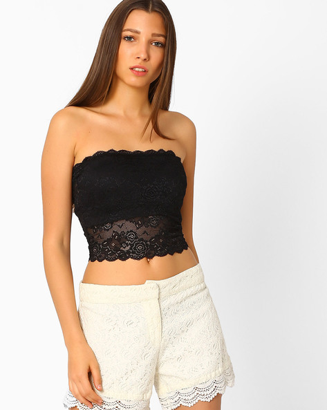Lace Bandeau Top By Only ( Black )