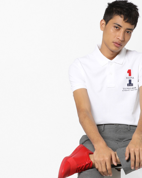 Polo T-shirt With Appliqué Branding By US POLO ( White )